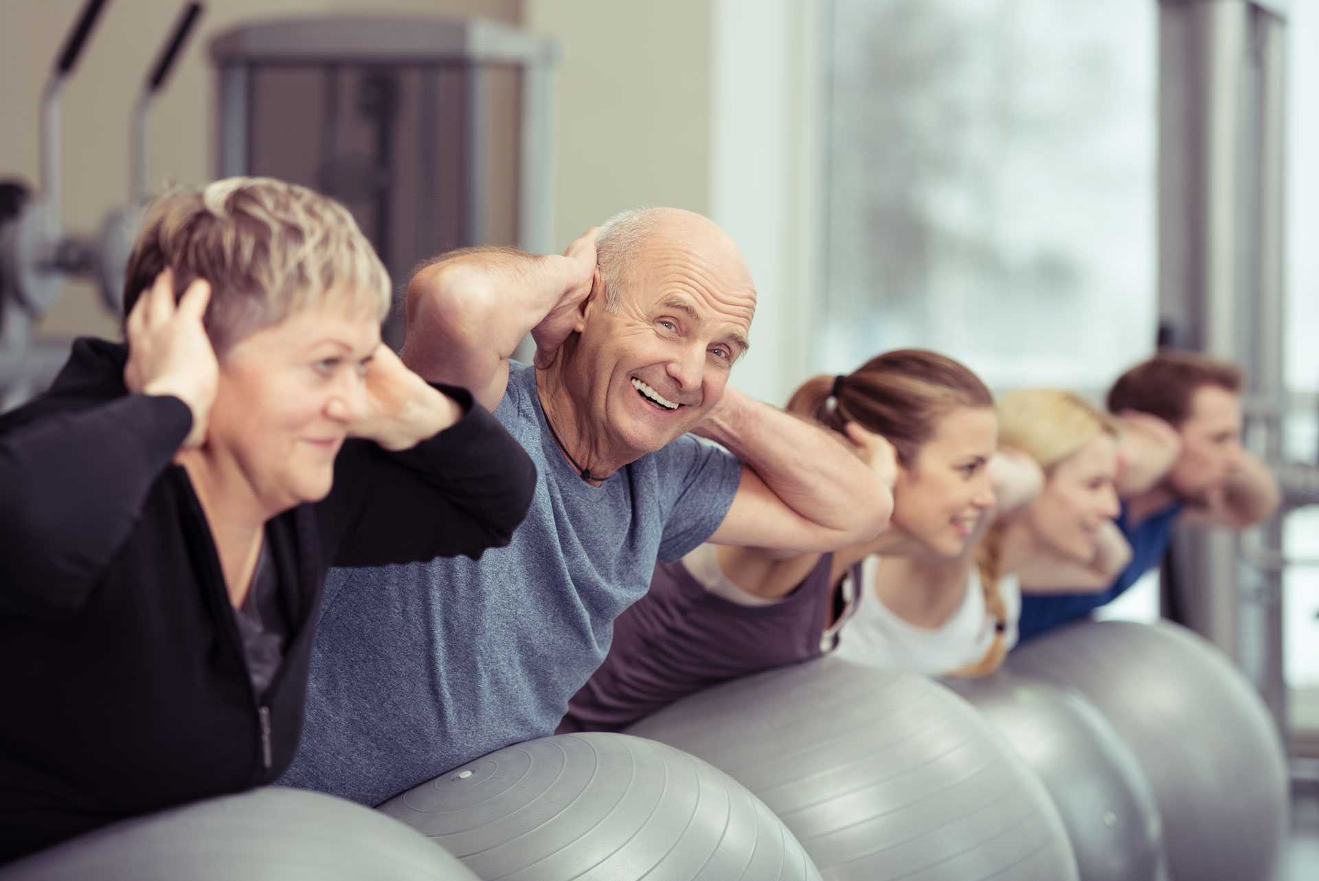 older people in workout class